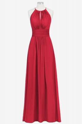 A Line Chiffon Round Neck Floor Length Bridesmaid Dresses With Ruffles_4