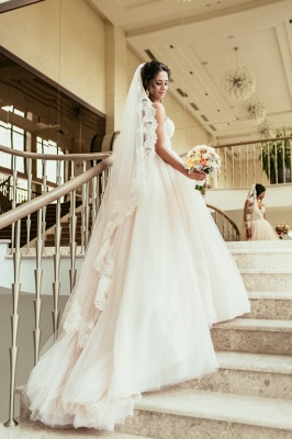 Tulle Glamorous Beadings Princess Sweetheart Lace Wedding Dress_2