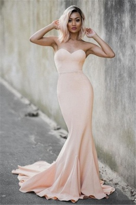 Simple Nude Mermaid Prom Dresses Sweetheart Neck Sleeveless Evening Gowns_1