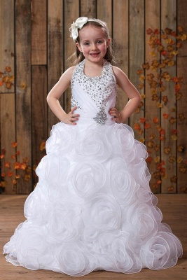 A-Line Organza Halter Sleeveless Flower Girl Dress with Embellishing
