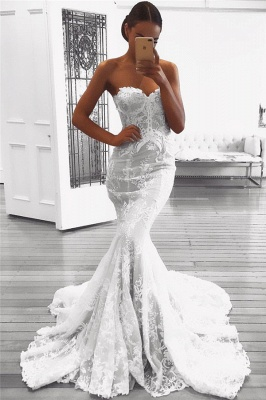 Sexy Strapless Mermaid Lace Wedding Dresses with Court Train_1