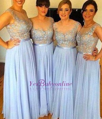 Popular Sleeveless Appliques A-Line Chiffon Floor-Length Bridesmaid Dress_1