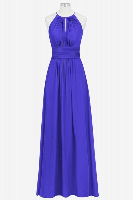 A Line Chiffon Round Neck Floor Length Bridesmaid Dresses With Ruffles_5