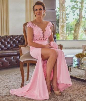 Pink Sheath Lace Evening Dresses | Cap Sleeves Open Back Side Slit Formal Dress_4