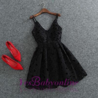 Short White Lace Cute Mini Spaghettis-Strap Homecoming Dress_1