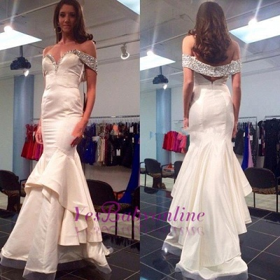 Mermaid Tiered Off-the-Shoulder Glamorous Crystal Prom Dress_1