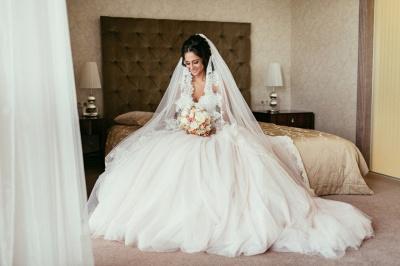 Tulle Glamorous Beadings Princess Sweetheart Lace Wedding Dress_5