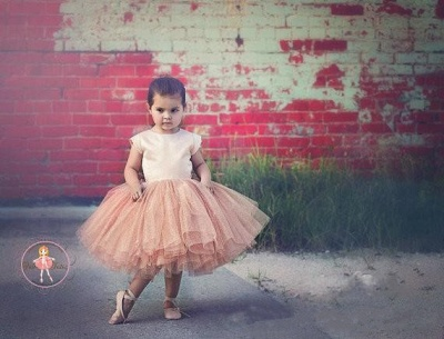 Lovely Cap Sleeve Tulle Princess Flower Girl Dress with Bowknot_4