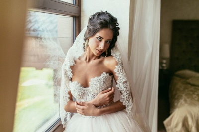 Tulle Glamorous Beadings Princess Sweetheart Lace Wedding Dress_6