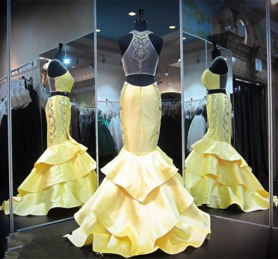 Crystals Mermaid Ruffles Sleeveless Halter Yellow Gorgeous Zipper Evening Gown_3