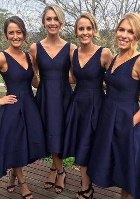 V-neck Dark-Navy Sleeveless A-line High-low Birdesmaid Dresses_2