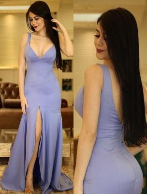 A-Line Sexy V-Neck Sleeveless Front-Slit Prom Dresses_3