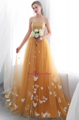 Fashion Sheath Gold Long Floor-Length Sash Evening Dresses_5
