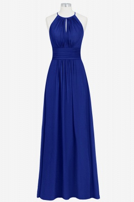 A Line Chiffon Round Neck Floor Length Bridesmaid Dresses With Ruffles_1