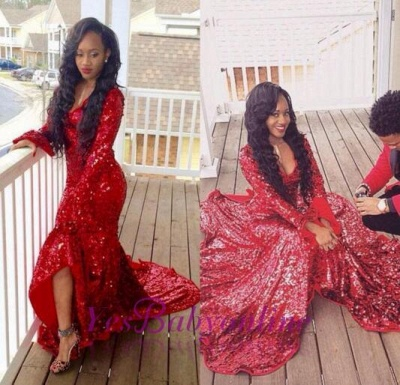 Hi-Lo Sweep-Train Long-Sleeve Red Sequined Gorgeous Mermaid Prom Dress_1