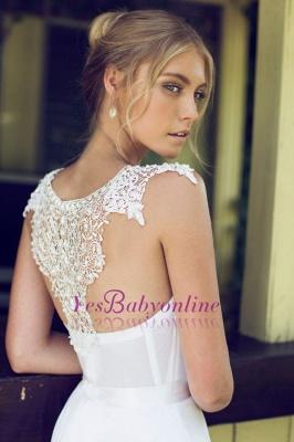 Beach Chiffon Sleeveless Courtn Train  Glamorous Summer Lace Wedding Dress_1