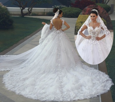 Luxurious Lace Sleeveless Appliques Princess Wedding Dress_4