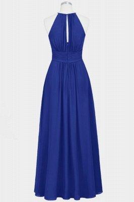 A Line Chiffon Round Neck Floor Length Bridesmaid Dresses With Ruffles_2