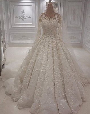 Gorgeous Jewel Long Sleeve Lace Beaded Ruffle Ball Gown Wedding Dresses_2