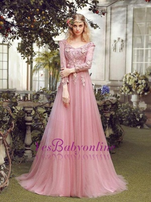 Special Fashion  Sleeve Pink Long Sheath Evening Dresses Occasion Dresses_2