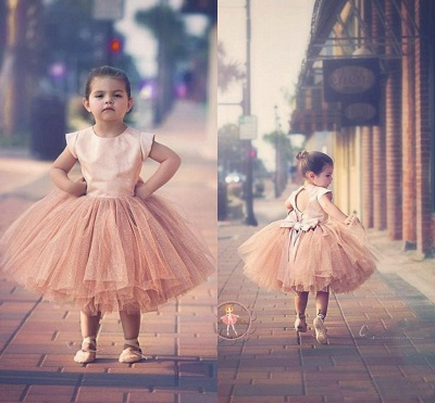 Lovely Cap Sleeve Tulle Princess Flower Girl Dress with Bowknot_6