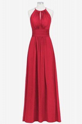 A Line Chiffon Round Neck Floor Length Bridesmaid Dresses With Ruffles_4