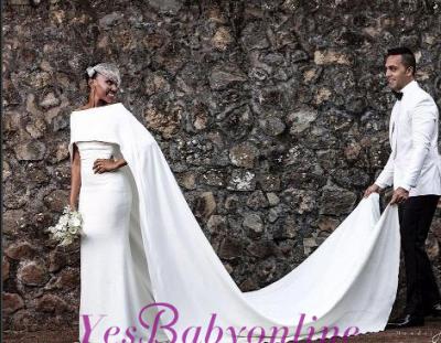 Glamorous Bateau Neck Plain Mermaid Wedding Dresses_1