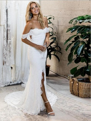 Mermaid White Lace Off-the-Shoulder Sweep-Train Front-Split Wedding Dress | Bridal Gown