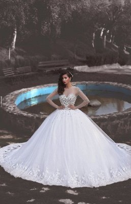 Glamorous Tulle Appliques Long Sleevess Ball Gown Crytal Wedding Dresses_2