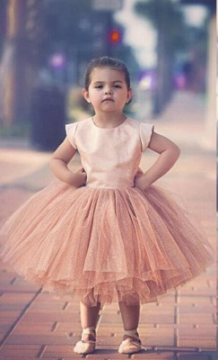 Lovely Cap Sleeve Tulle Princess Flower Girl Dress with Bowknot_1