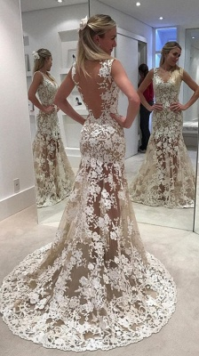Ivory  Sheer Backless Lace Mermaid Designer Wedding Dress_3