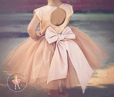 Lovely Cap Sleeve Tulle Princess Flower Girl Dress with Bowknot_5