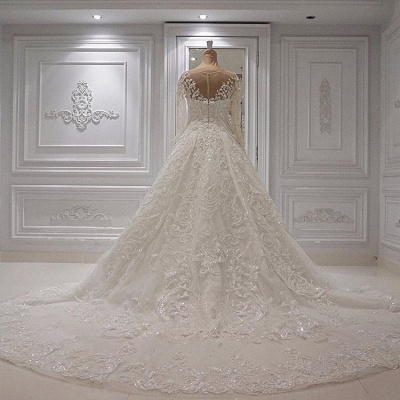 Gorgeous Jewel Long Sleeve Lace Beaded Ruffle Ball Gown Wedding Dresses_3