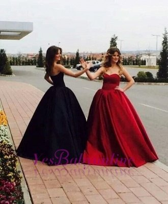 Sweetheart Glamorous Simple Sleeveless Ball-Gown Prom Dresses_1