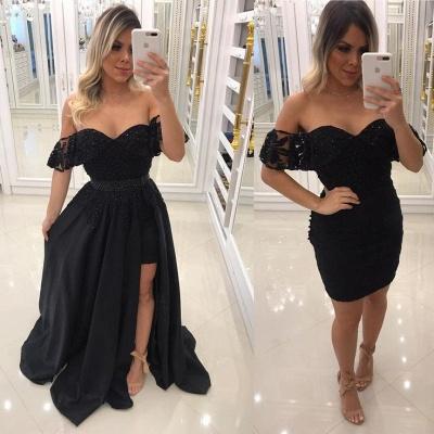 Beaded A-Line Black Prom-Dresses Chic Off-The-Shoulder Side-Slit Evening Dresses_3