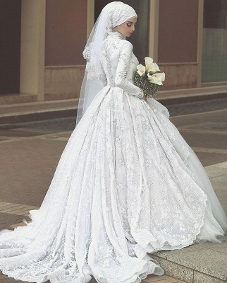 Glamorous High Neck Wedding Dresses | Lace Long Sleeves Muslim Bridal Gowns_4