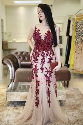 Scoop Beaded Lace-Applique Brilliant Mermaid Sleeveless  Prom Dresses_2