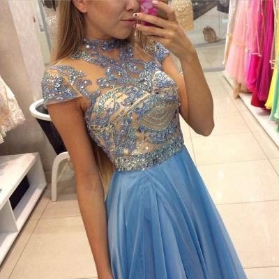 A-line Long  Romantic High-Neck Crystals Sky-Blue Prom Dresses_3
