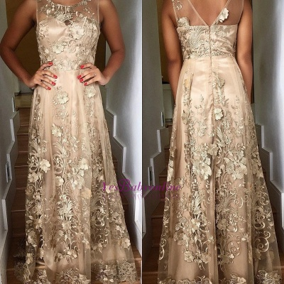 Lace Scoop Prom Long Sleeveless Dresses Appliques_3
