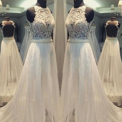 Hollow Sleevess Simple Scoop Sweep Train A-line Wedding Dress_3