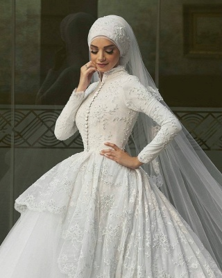 Glamorous High Neck Wedding Dresses | Lace Long Sleeves Muslim Bridal Gowns_3