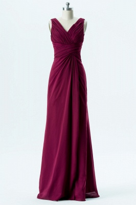 A Line chiffon V-Neck Sleeveless FLoor Length Bridesmaid Dresses_1