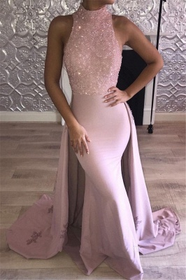 High Neck Sleeveless Prom Dresses | Pink Mermaid Evening Dresses with Overskirt_1