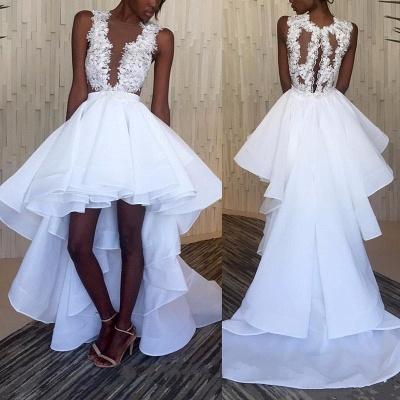 Hi-Lo White Lace Ruffles Sleeveless Appliques Wedding Dress_3
