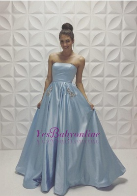 Baby Blue Strapless Prom Dresses Sleeveless Beadings A-line Formal Dresses_1