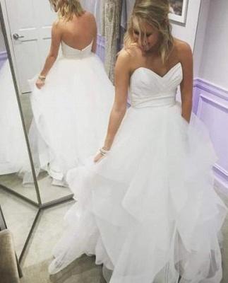 Sweetheart Long A-Line Empire Tiered Summer Ruffles Wedding Dresses_2