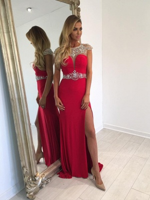 Red Long Split Crystal Cap-Sleeve Sexy Prom Dress_2