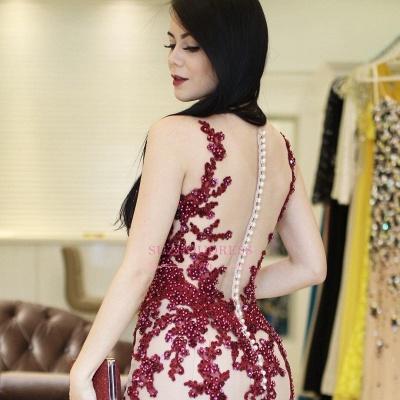 Scoop Beaded Lace-Applique Brilliant Mermaid Sleeveless  Prom Dresses_3