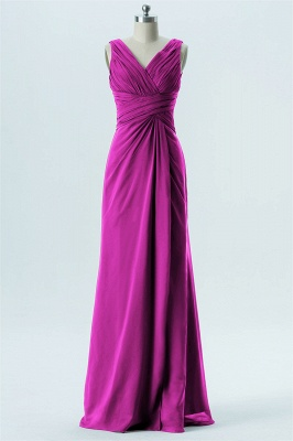 A Line chiffon V-Neck Sleeveless FLoor Length Bridesmaid Dresses_3