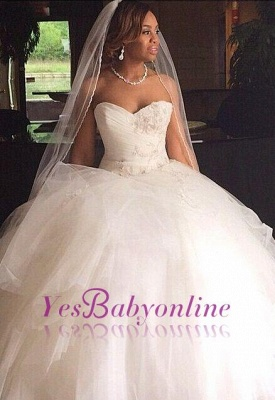 Ball Gown Sweetheart Neck Layers Wedding Dresses_1